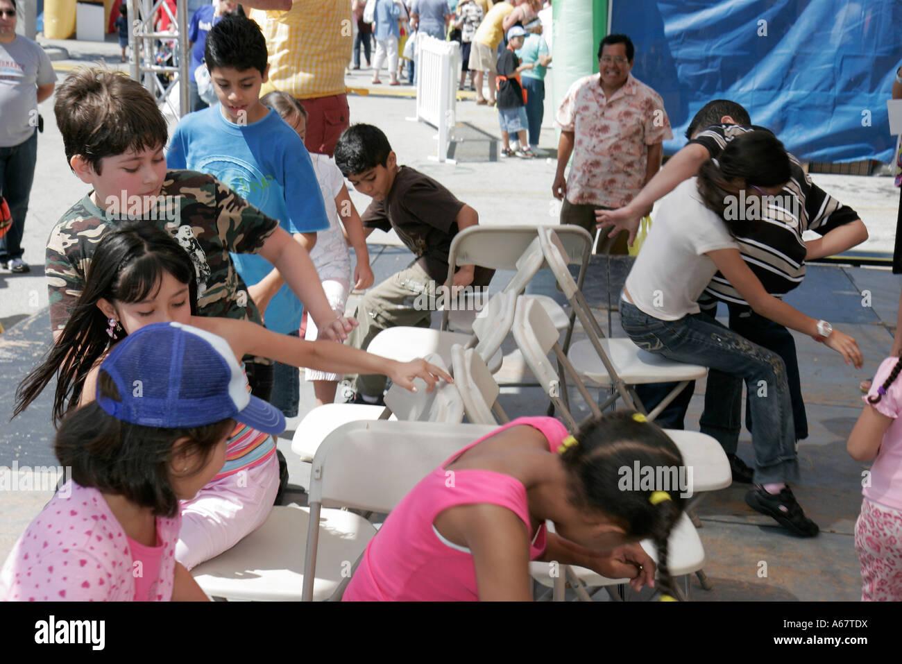 Miami Florida Little Havana Calle Ocho Annual Hispanic Festival Musical  Chairs Boys Girls Contest Game