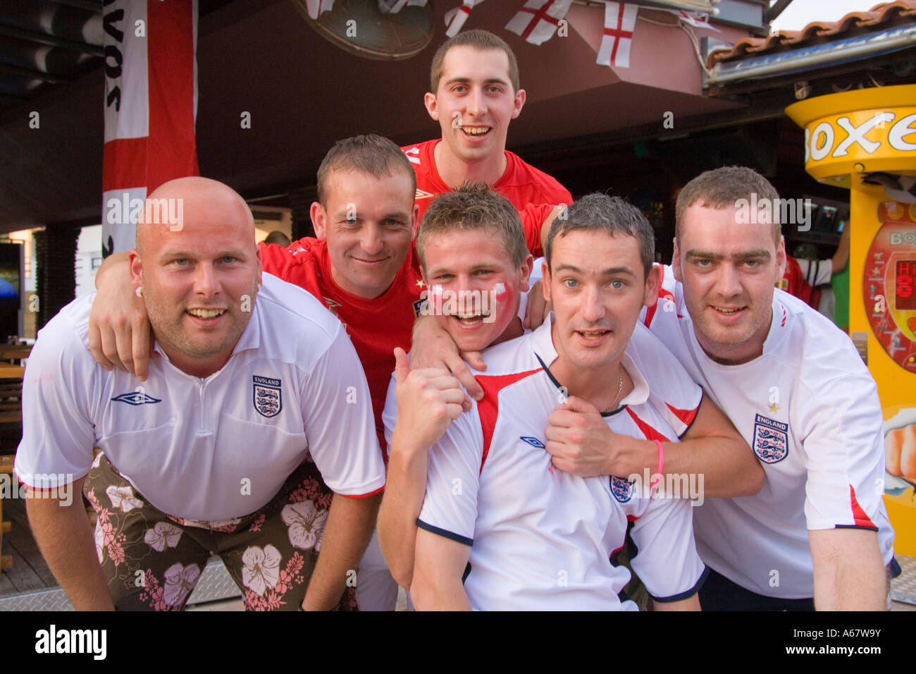Six young men English football fans in Kavos Corfu after ...