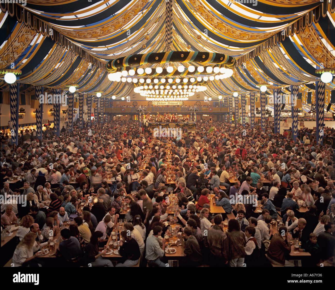 Inside a beer tent Oktoberfest Munich Bavaria Germany & Inside a beer tent Oktoberfest Munich Bavaria Germany Stock Photo ...
