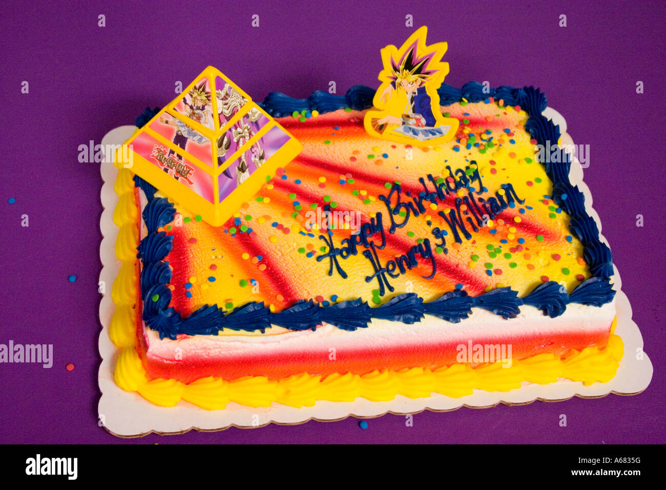 Yami Yugi on a YuGiOh theme birthday cake for Henry and William