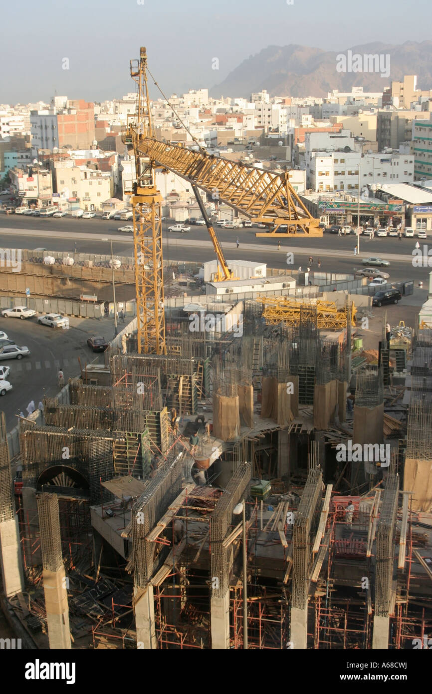 Tower crane in the holy city of Medina in Saudi Arabia ...