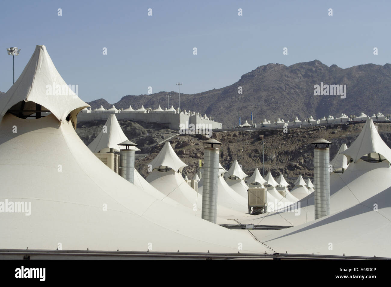 Roofs of tent city in Mina near Mecca Saudi Arabia & Roofs of tent city in Mina near Mecca Saudi Arabia Stock Photo ...