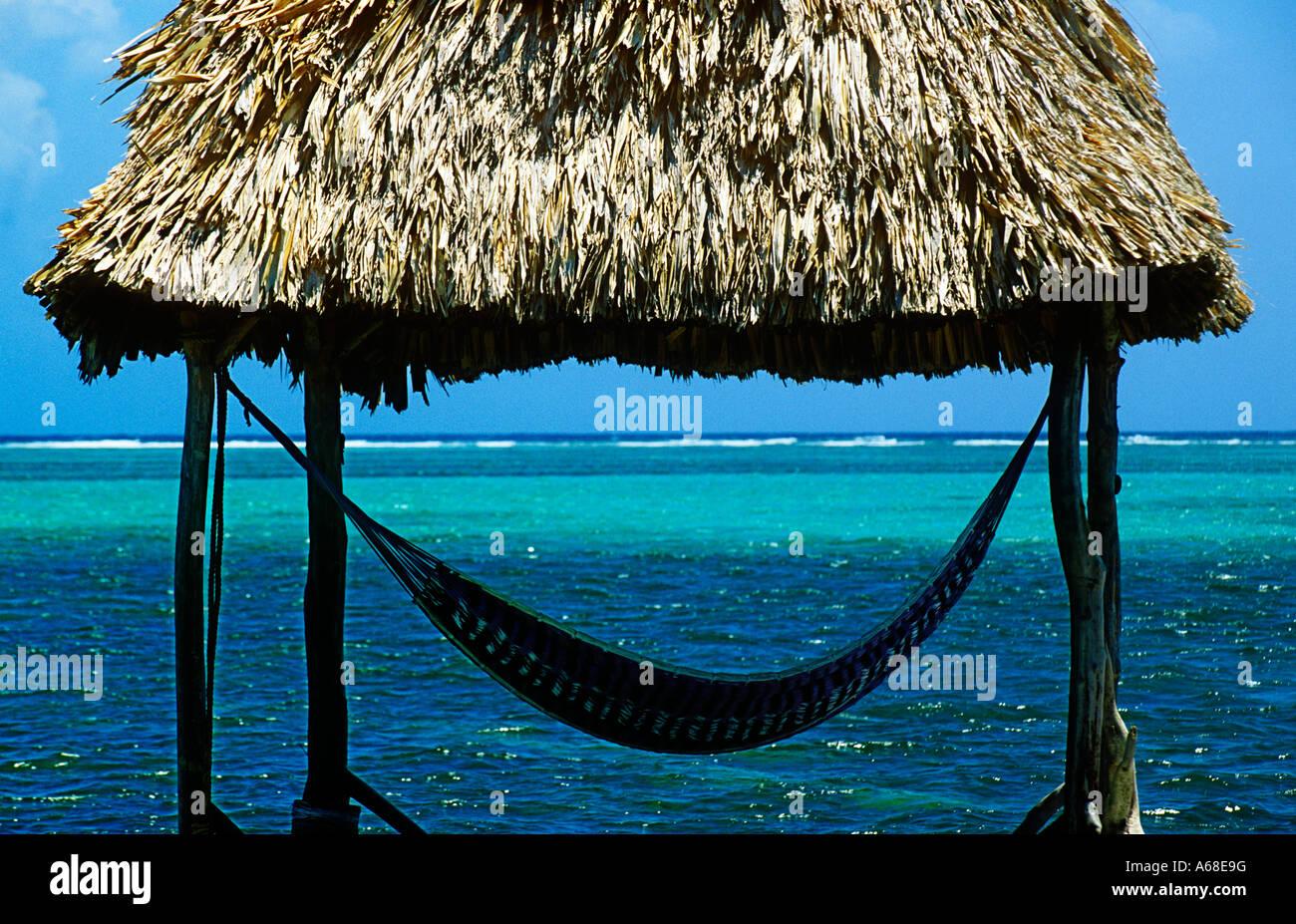 cabana with hammock overlooking aqua tropical waters ambergris caye belize cabana with hammock overlooking aqua tropical waters ambergris      rh   alamy