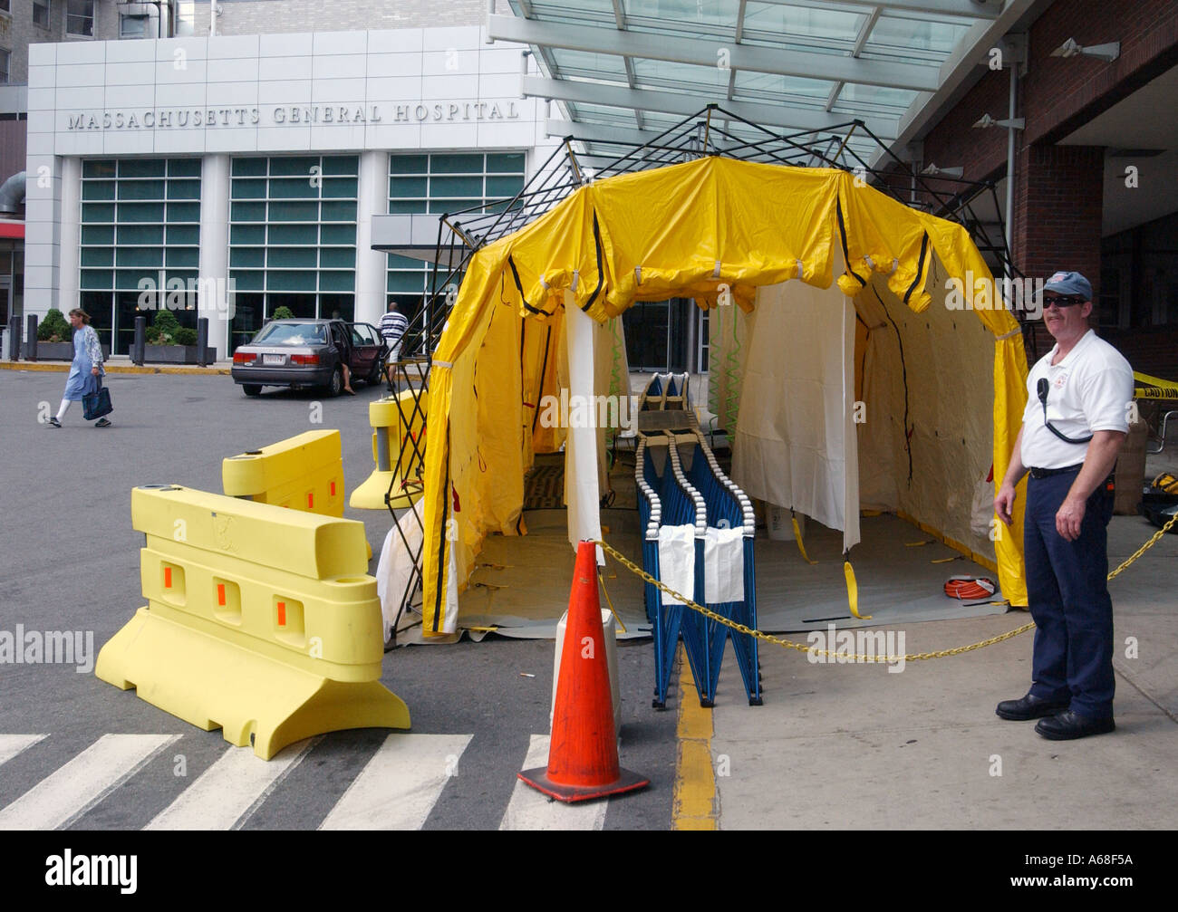 A chemical decontamination tent outside Massachusetts General Hospital & A chemical decontamination tent outside Massachusetts General ...