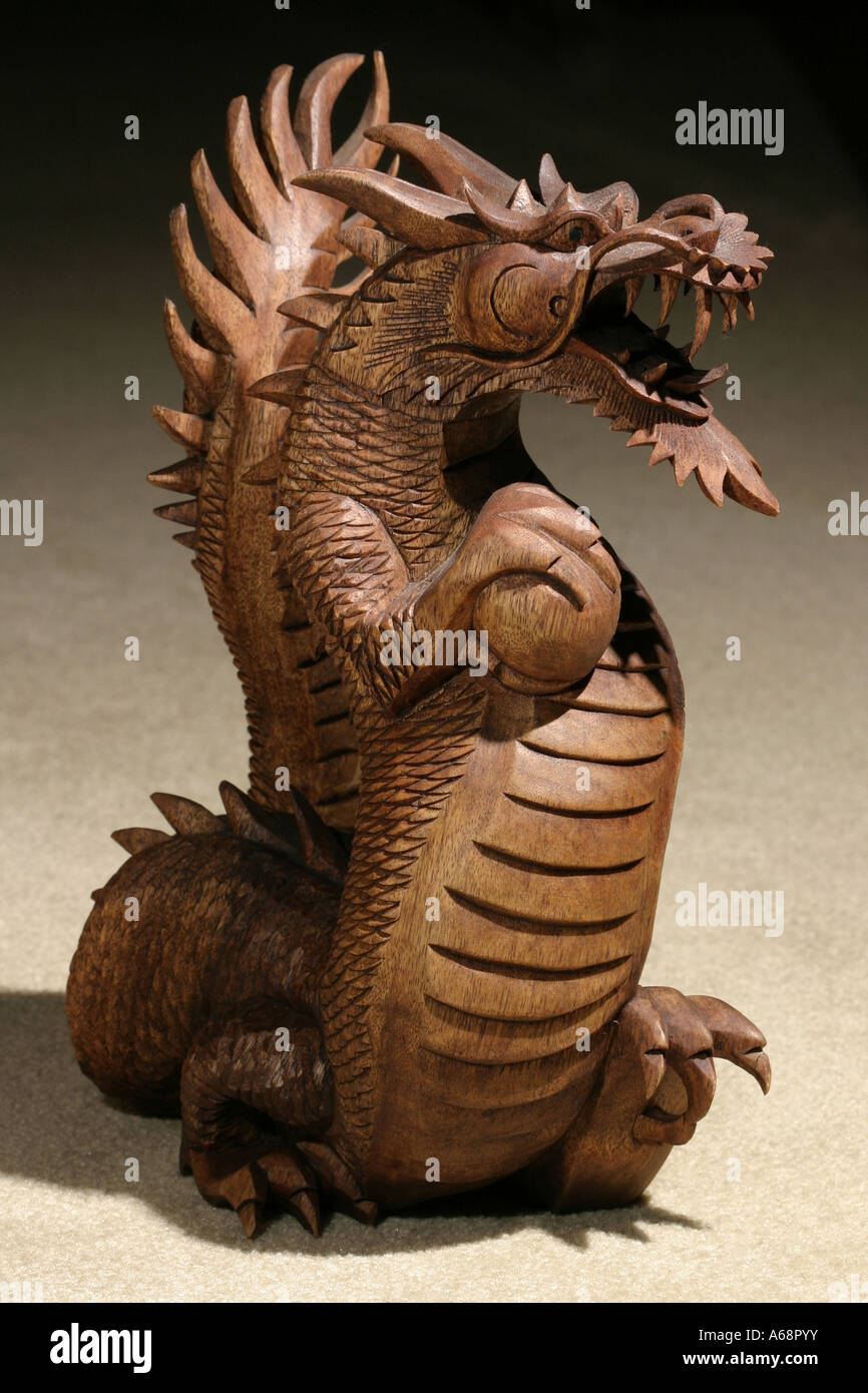 A Carved Wooden Chinese Dragon Statue Stock Photo Royalty