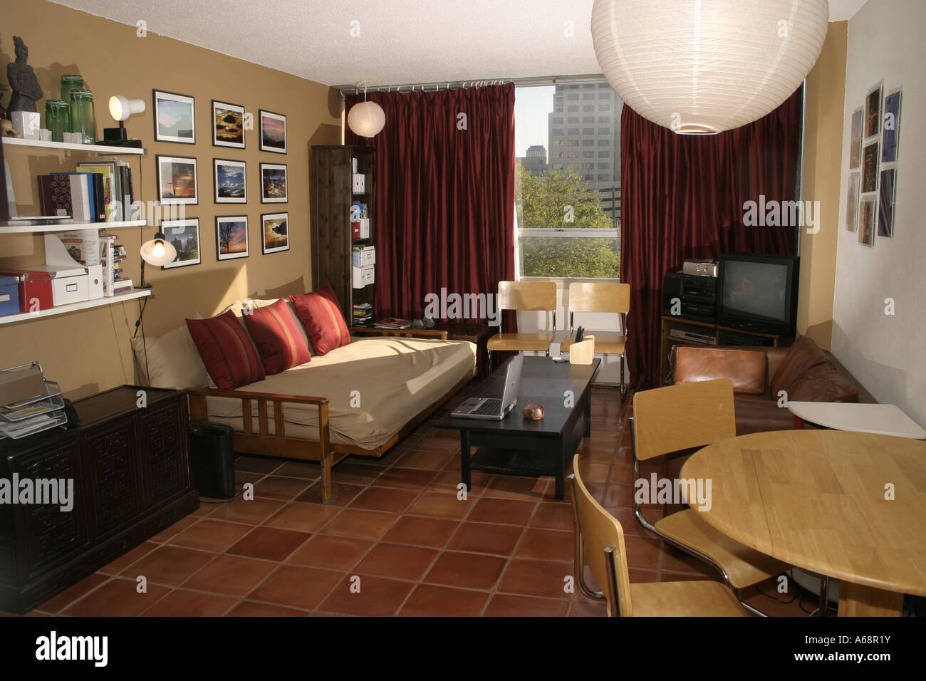 A modern Living room decorated with Mexican tiles Stock Photo ...