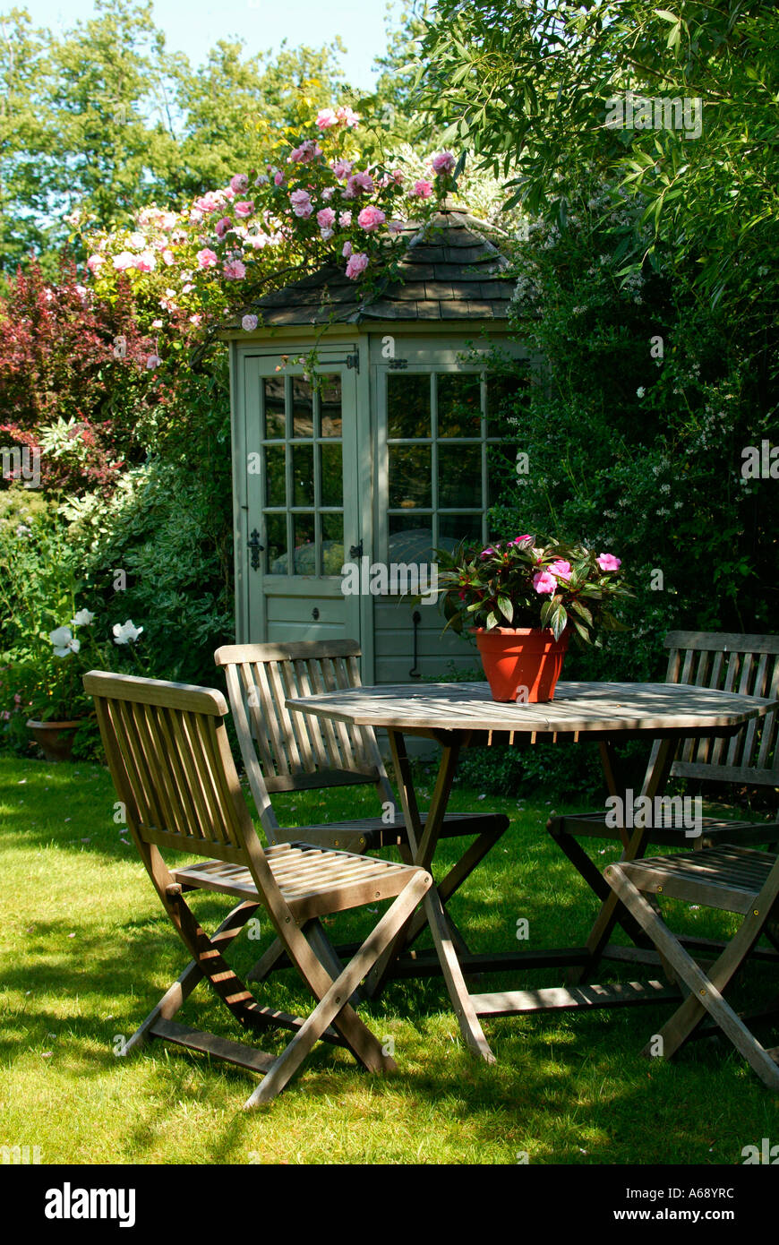 Summer Table And Chairs Part - 25: Stock Photo - Summerhouse, Table And Chairs In Summer, English Garden  Scene, England