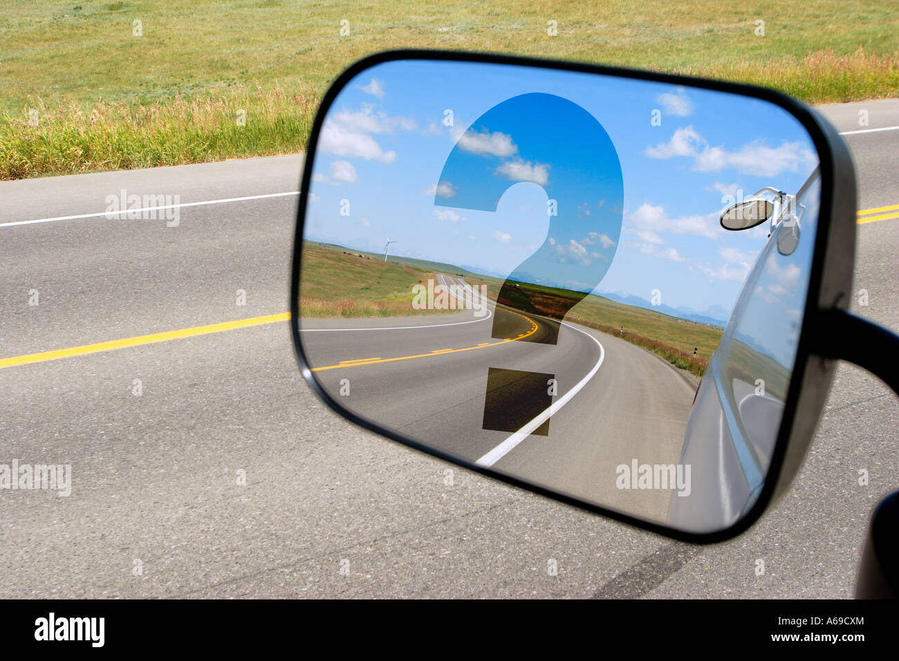 Side mirror on cargo van reflecting highway road with for Mirror questions