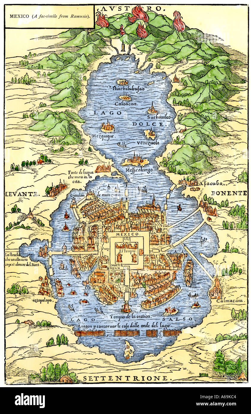 Tenochtitlan Capital City Of Aztec Mexico An Island Connected By – Aztec Mexico Map