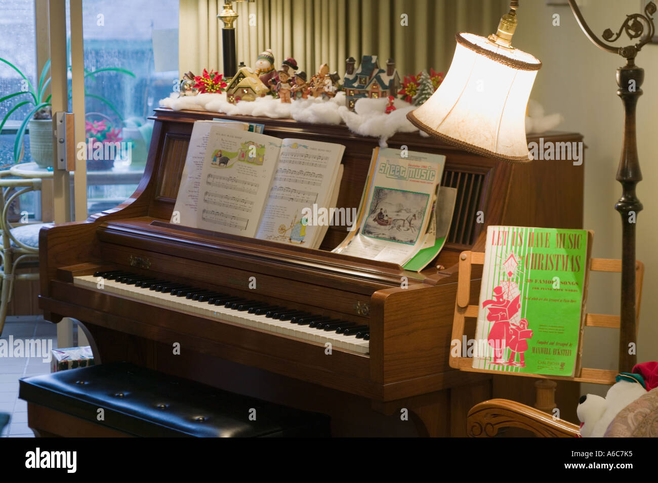 Piano and christmas decorations stock photo royalty free