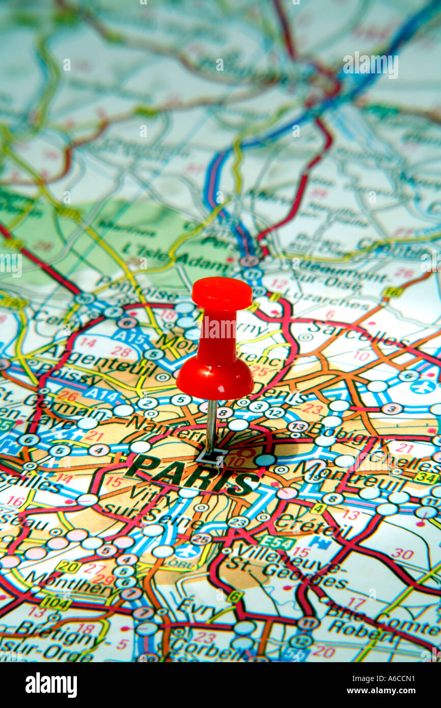 Map Pin Pointing To Paris France On A Road Map Stock Photo - Paris road map