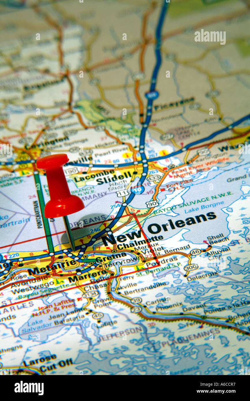 Map Pin Pointing To New Orleans Louisiana USA On A Road Map - New orleans usa map