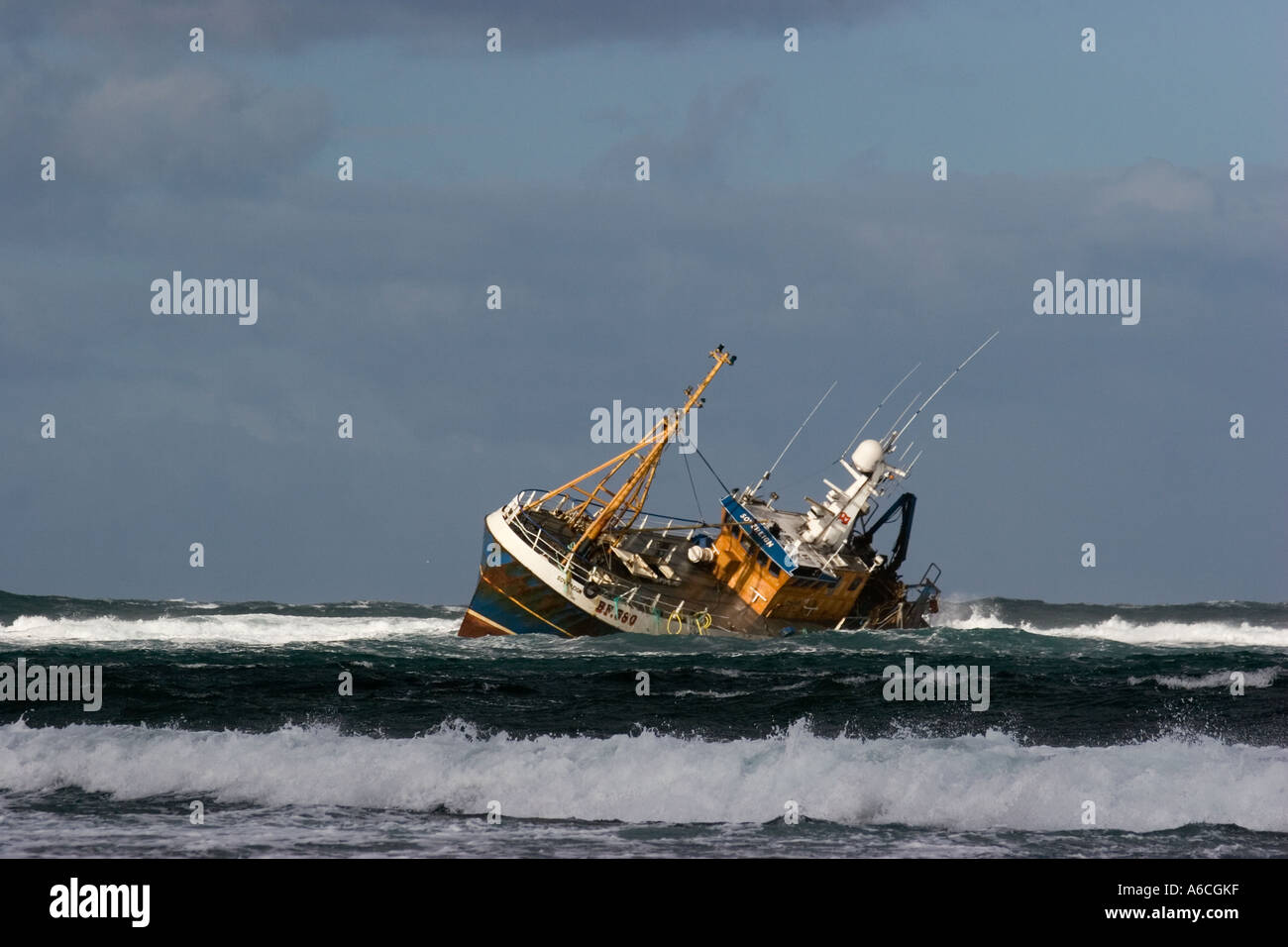 Beached grounded wreck of Banff Fishing Vessel boat BF 380 ...