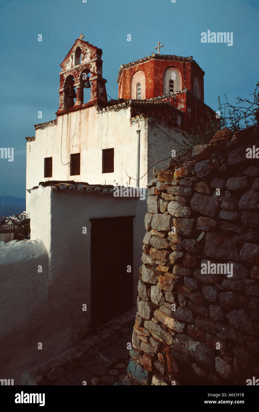 Greek Orthodox church on the island of Hydra Greece Stock ...