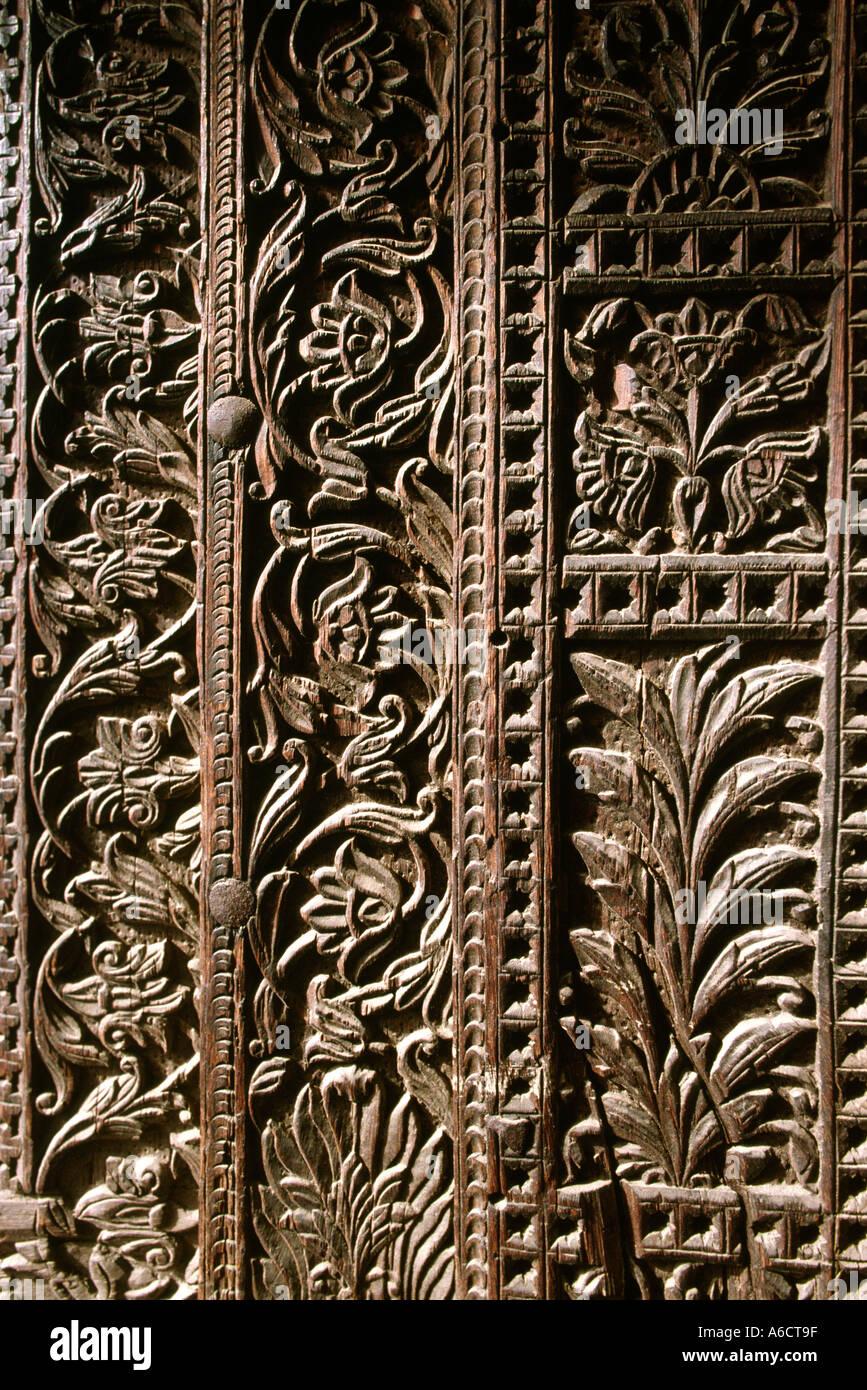 Pakistan Punjab Lahore Crafts Wood Carving Detail Of Door