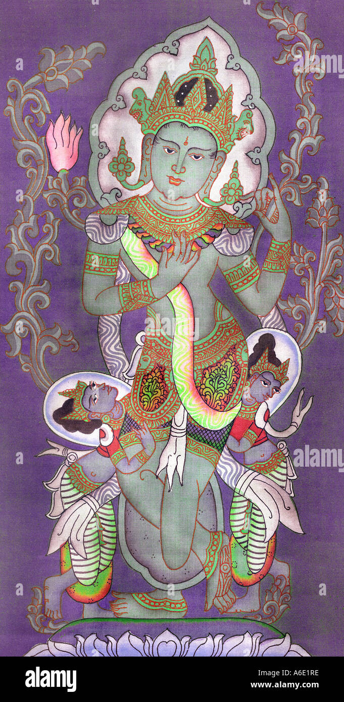Painting of the hindu god with lotus flower burmese painting stock painting of the hindu god with lotus flower burmese painting purchased at bagan dhlflorist Gallery