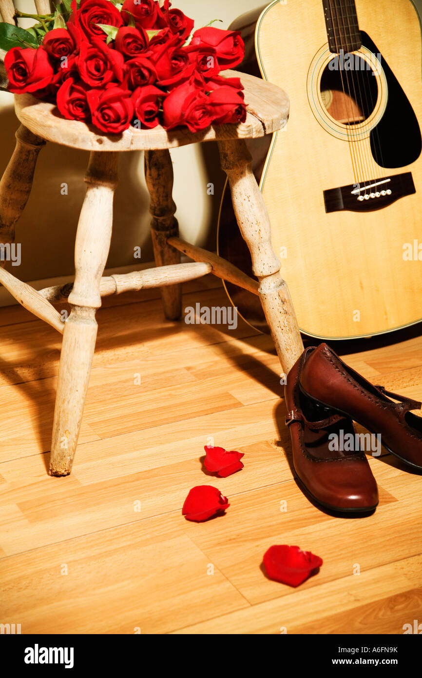 Red Roses And Acoustic Guitar