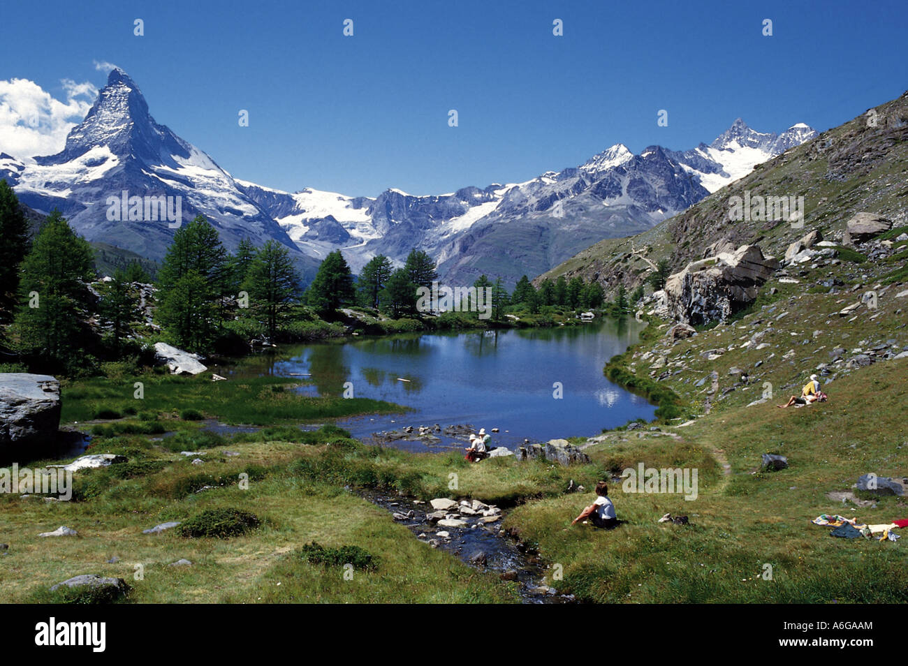 lake grindjisee with the matterhorn switzerland stock photo