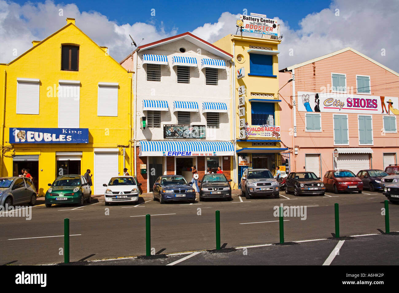 stores on ernest deproge street fort de france city martinique french stock photo royalty free. Black Bedroom Furniture Sets. Home Design Ideas