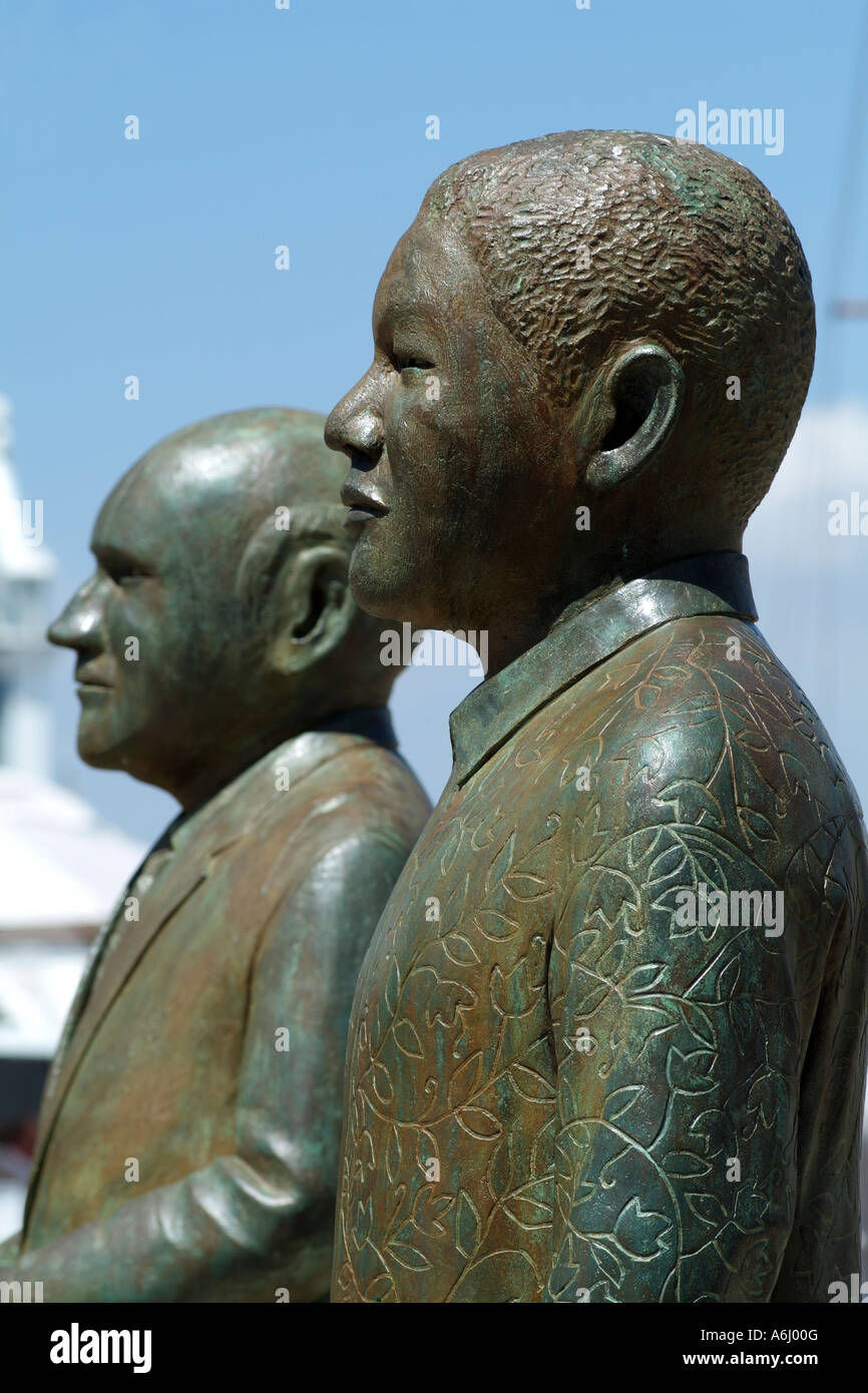 Nelson Mandela and F W de Klerk statues Cape Town South Africa RSA ...