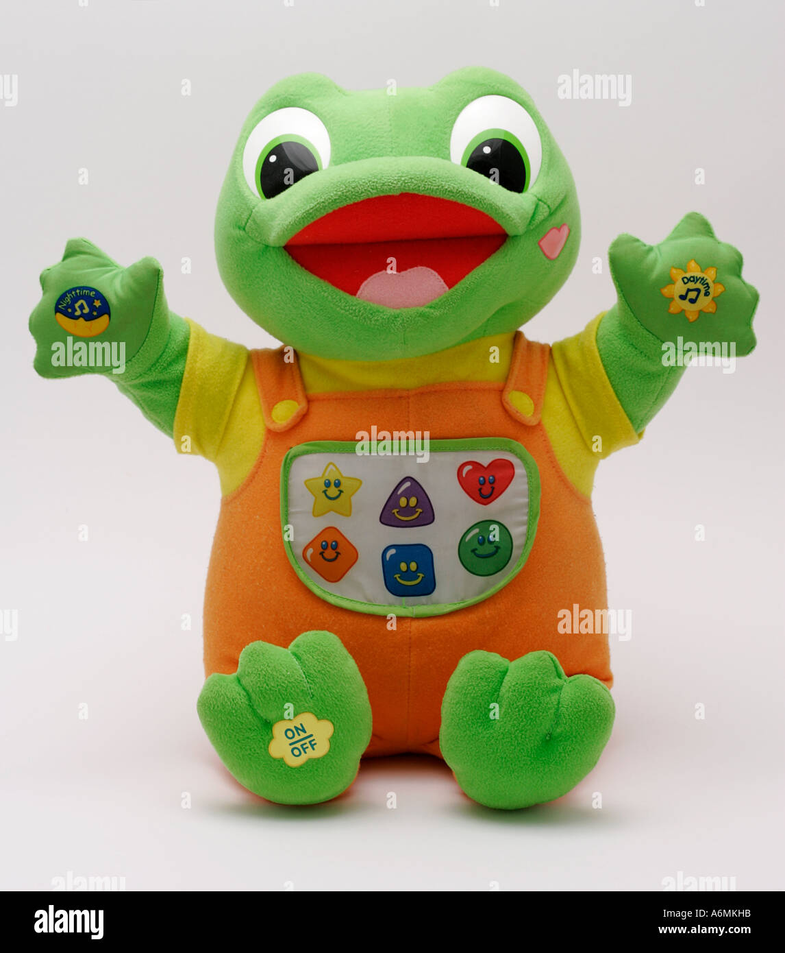 musical soft toy green frog stuffed front smiling face kiss