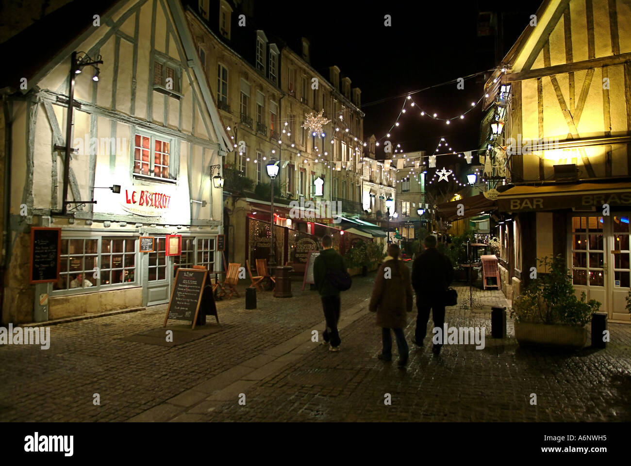 medieval street by night at christmas in caen france stock photo royalty free image 6640596. Black Bedroom Furniture Sets. Home Design Ideas