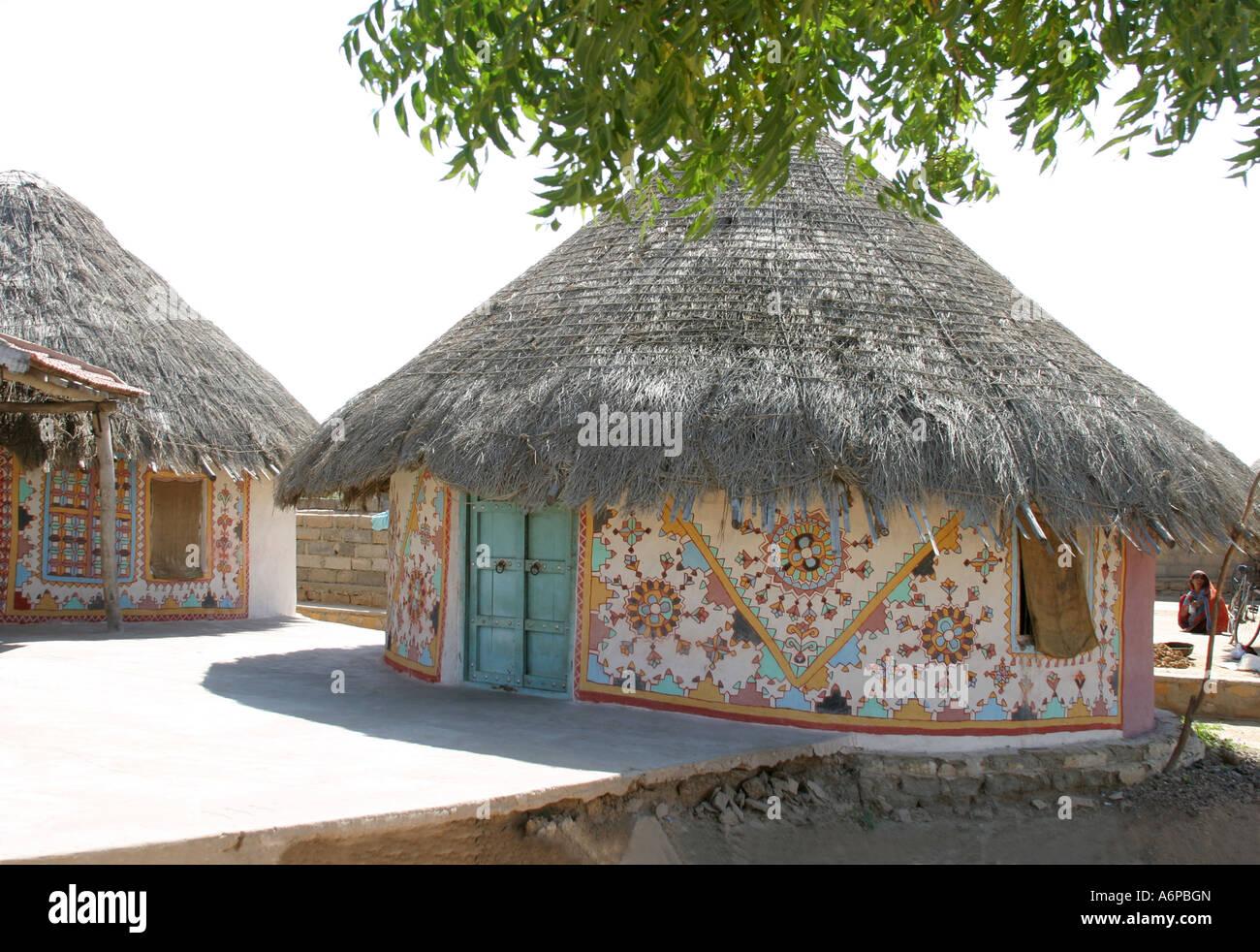 Circlar banni tribal house near bhuj gujarat india stock for Tribal house
