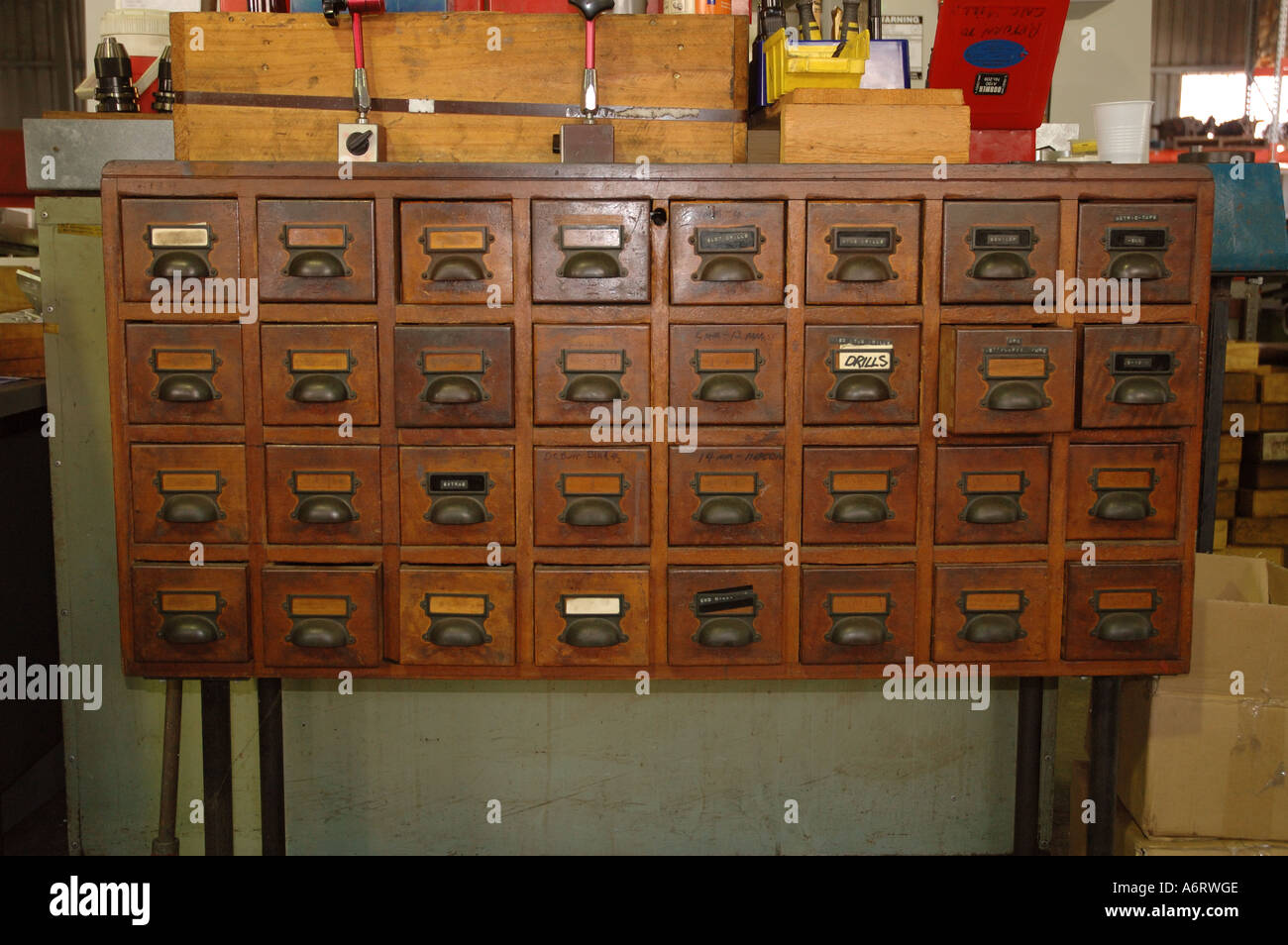 Old Timber Card File Cabinet Used For Tool Storage