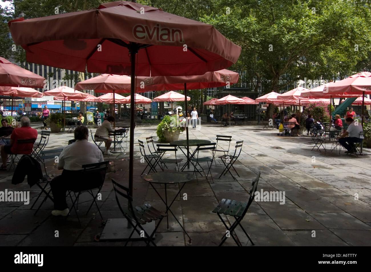 Umbrellas, Tables And Seats In Bryant Park, New York City