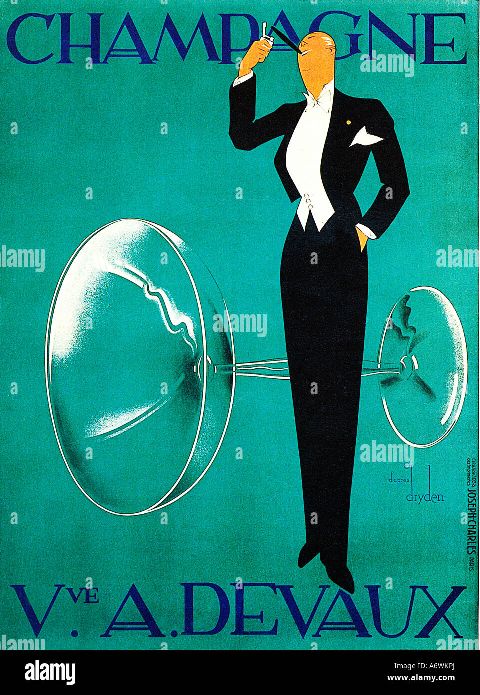 champagne devaux the famous 1930s art deco poster for the french stock photo royalty free image. Black Bedroom Furniture Sets. Home Design Ideas
