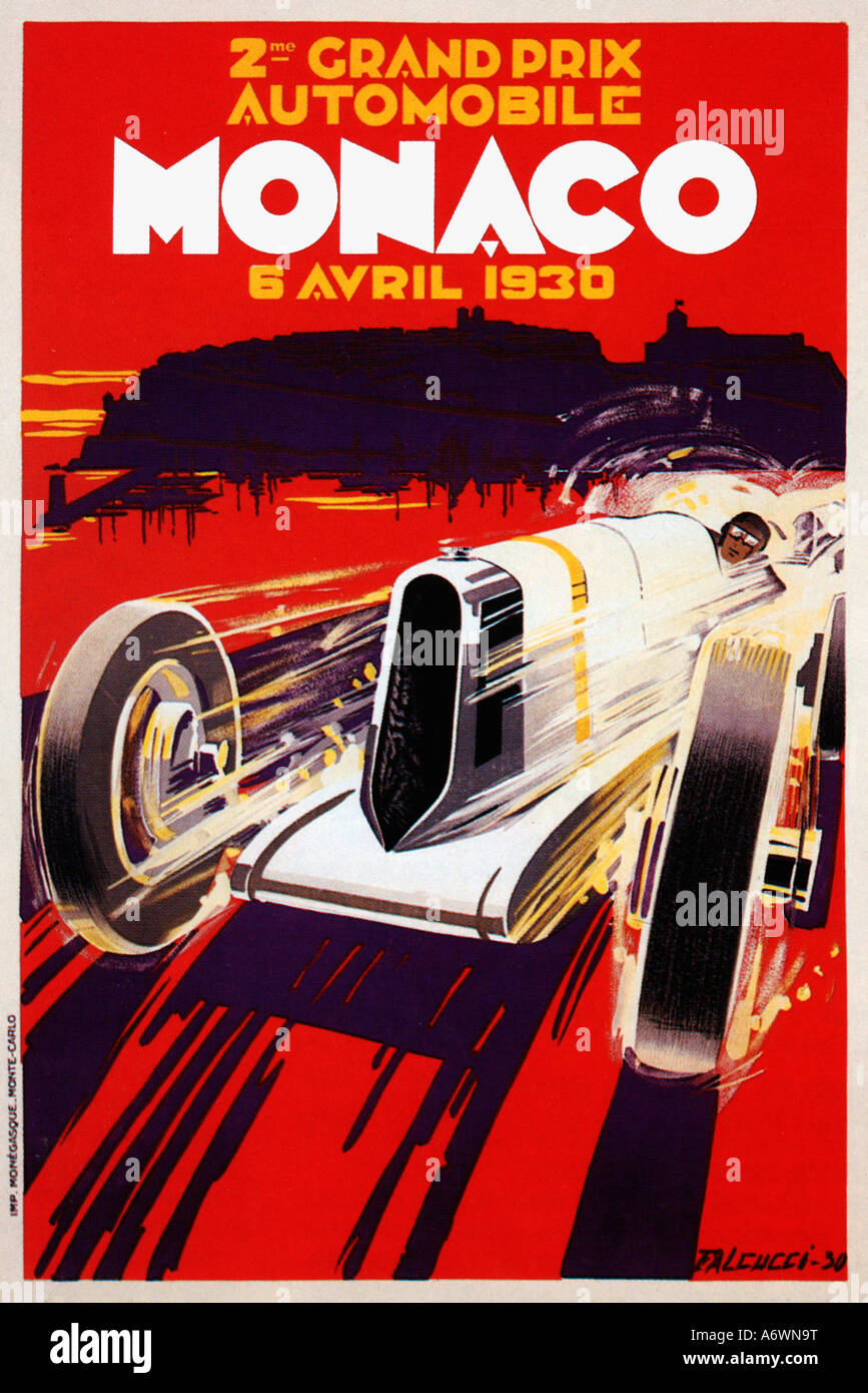 Cars silver racer poster 2 - Monaco Grand Prix 1930 Poster For The 2nd Race In Monte Carlo Shows A Silver