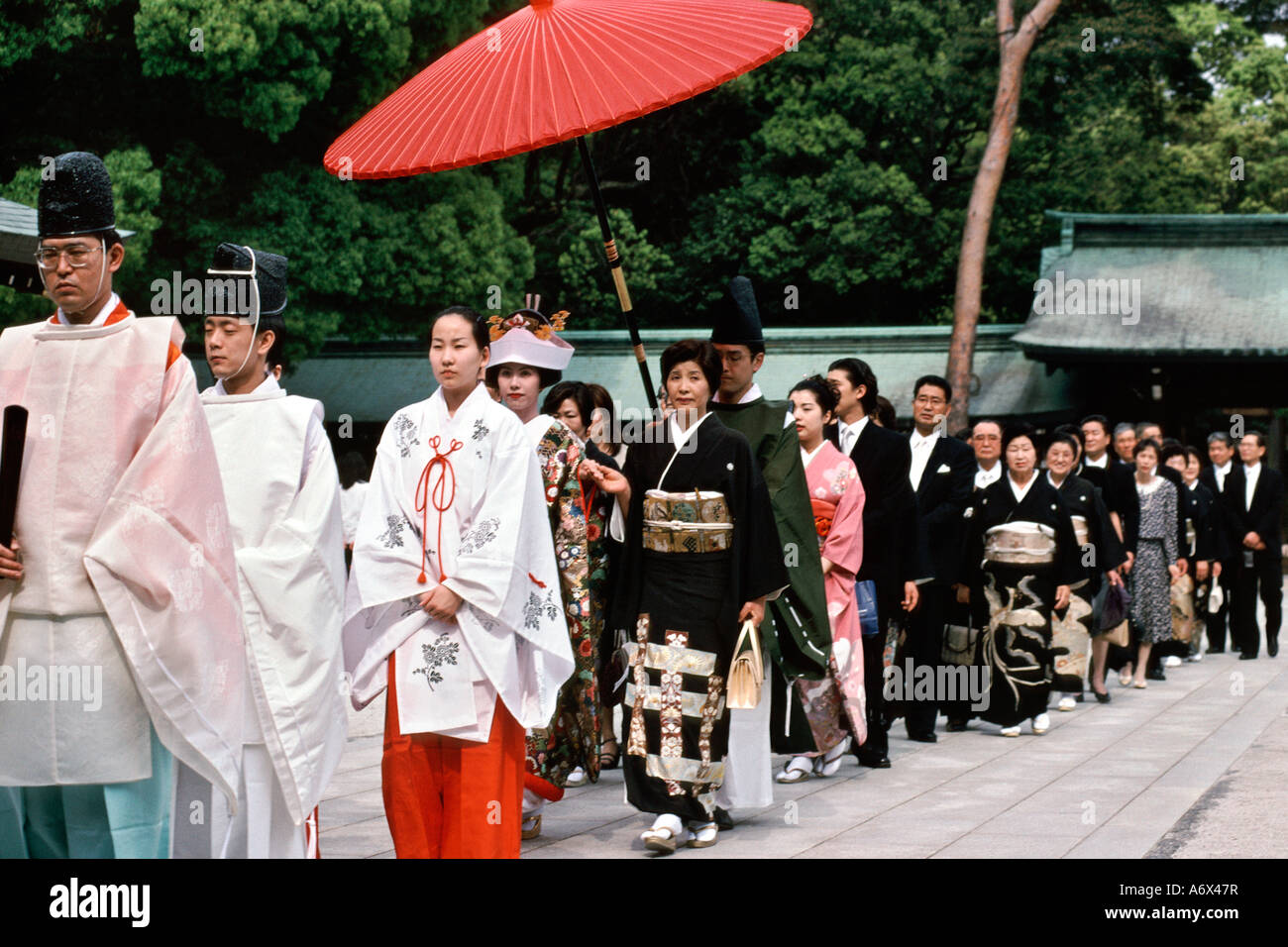 A Traditional Japanese Wedding Procession At The Meiji Shrine In Stock Photo Royalty Free Image