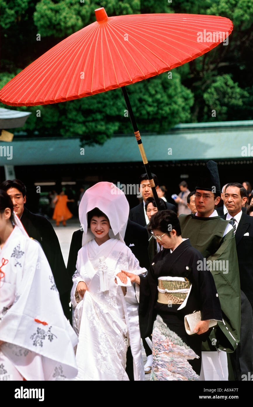 Japanese wedding blessings - A Traditional Japanese Wedding Procession At The Meiji Shrine In Tokyo Japan Stock Image