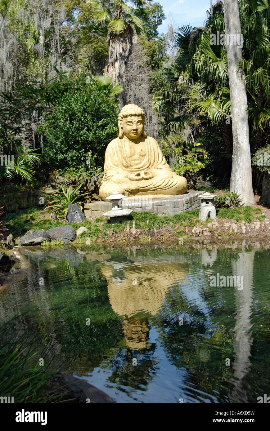buddha in japanese garden in botanical gardens at cypress gardens