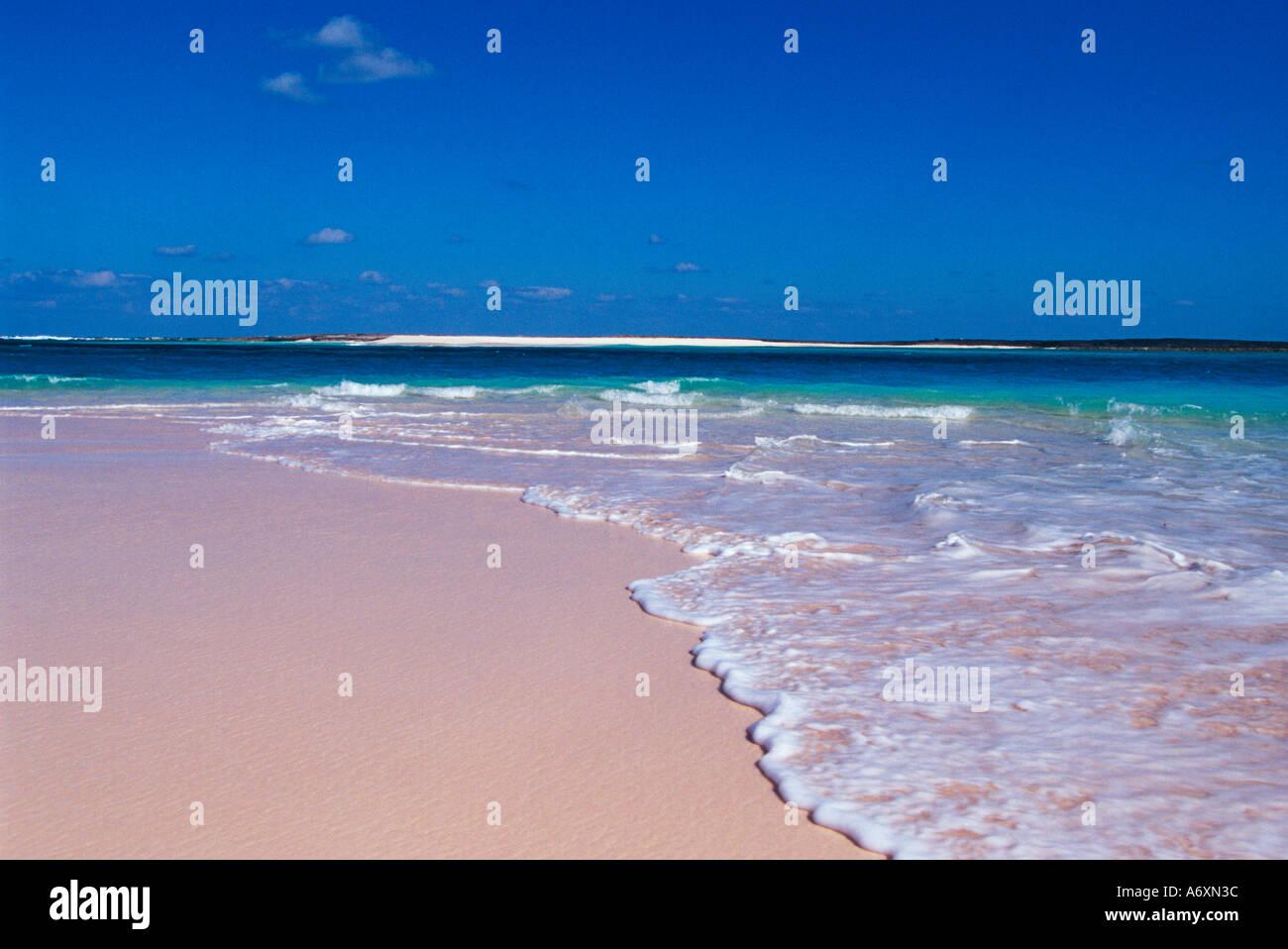 Pink sand beach at Conch Bay, Cat Island, Bahamas Stock Photo ...