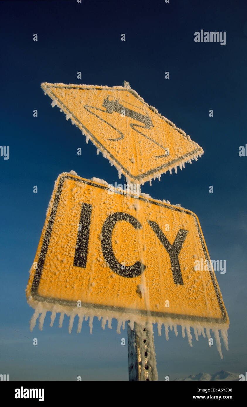 Icy road sign covered with frost ice winter alaska stock photo icy road sign covered with frost ice winter alaska buycottarizona Images