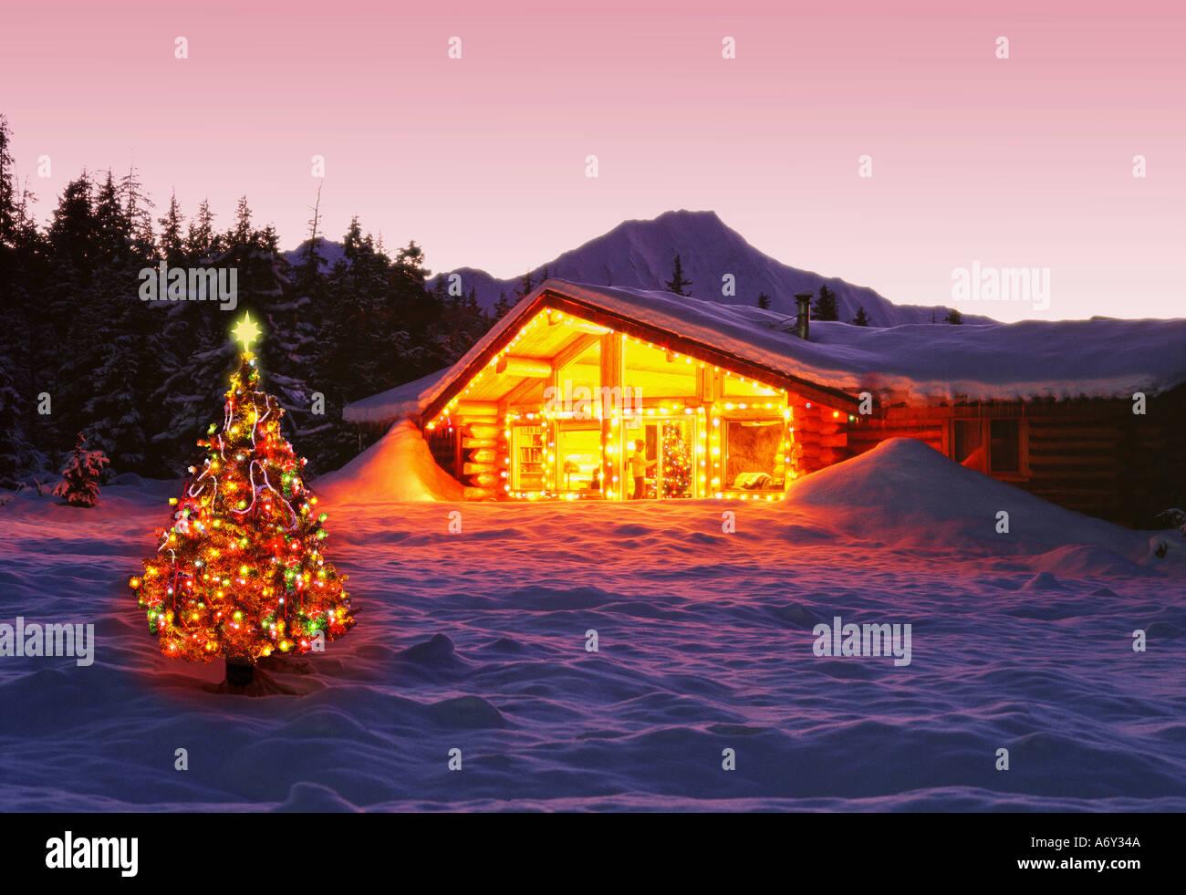 Girdwood Log Cabin Christmas Lights Decorations Dusk AK ...