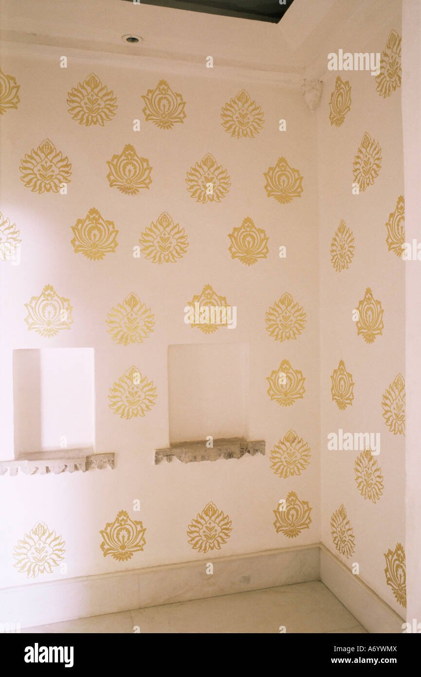 Contemporary gold leaf stencil work in anteroom to the grand contemporary gold leaf stencil work in anteroom to the grand durbar hall devi garh fort palace hotel near udaipur rajasthan s amipublicfo Choice Image