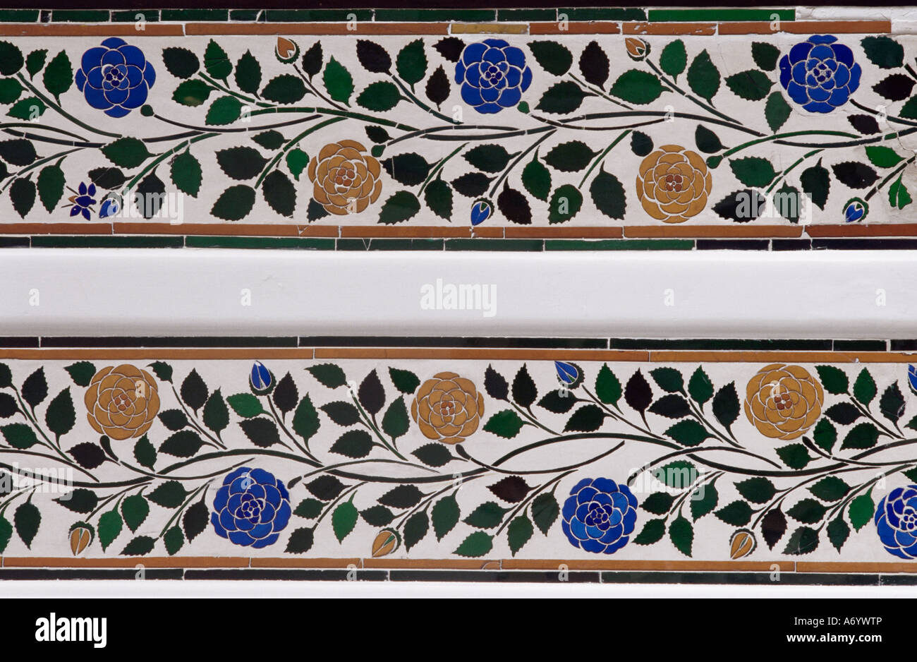 detail of the coloured glass and mirror inlay work found in the