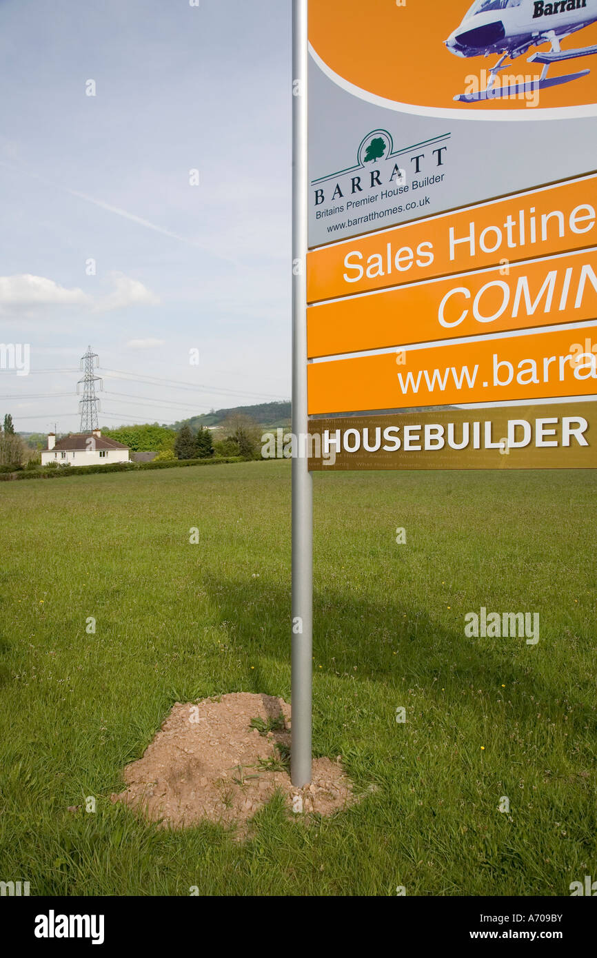 Field with planning permission for a new housing estate with sign ...