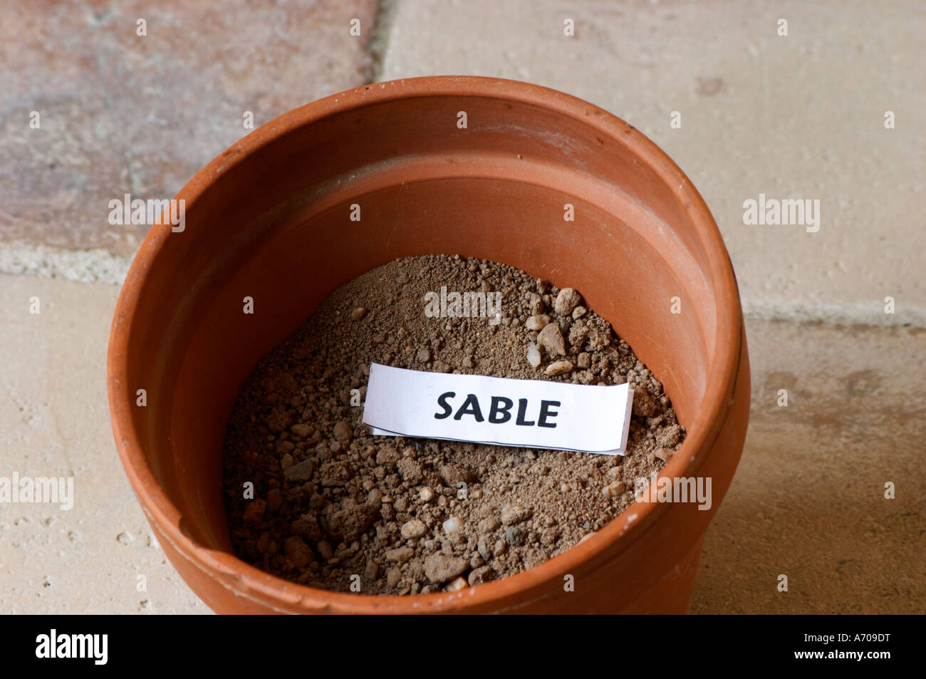 Plant pot with soil sample to illustrate different soil for Different parts of soil