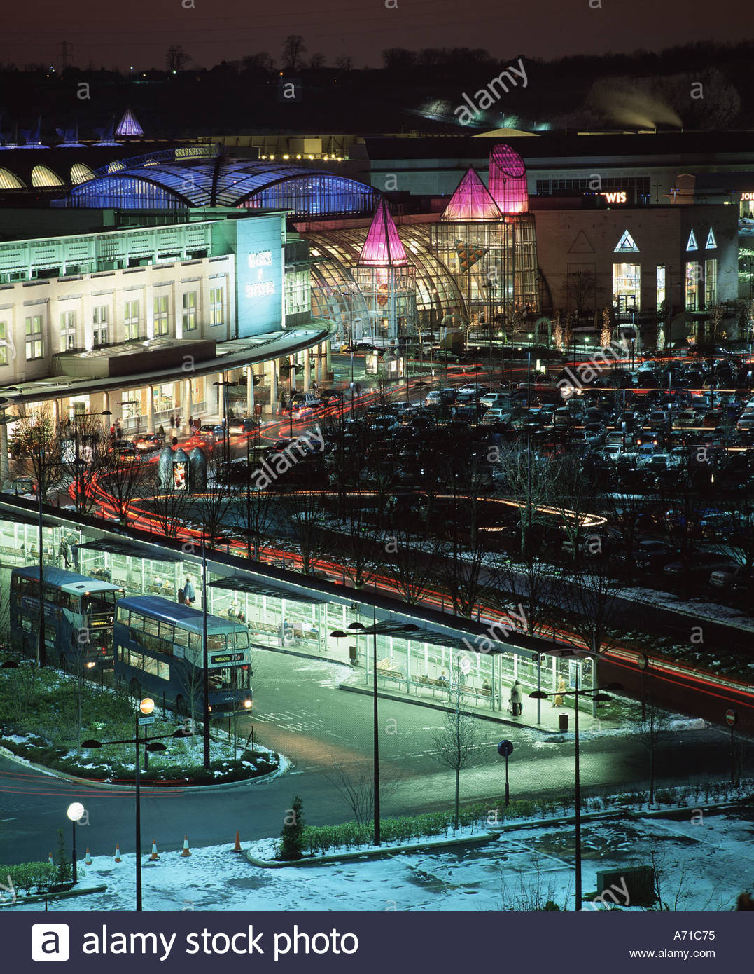 Bluewater Out Of Town Shopping Centre Lit Up At Night Near