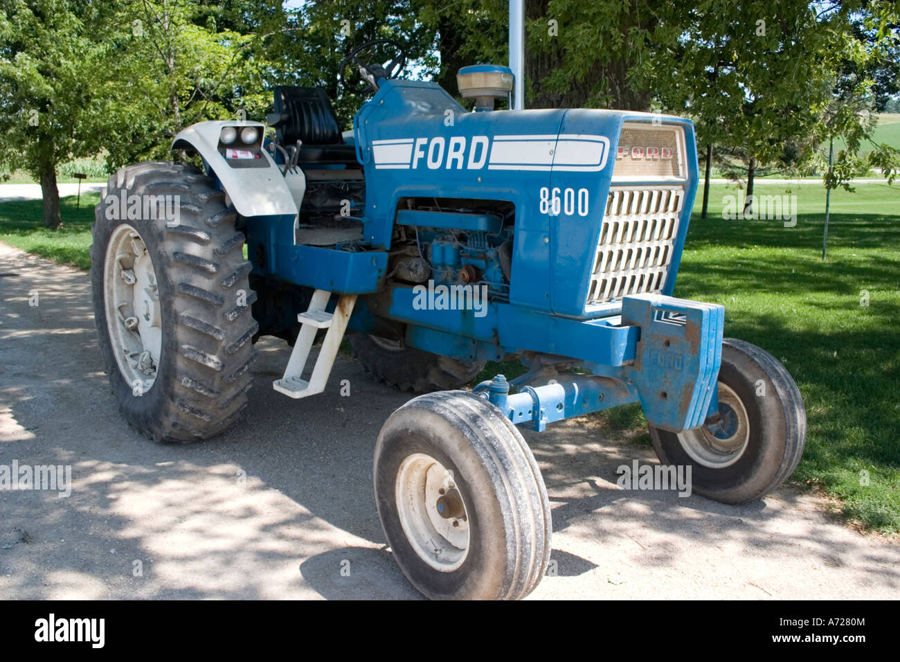 Portrait of blue ford tractor abel dairy farms eden wisconsin usa stock image