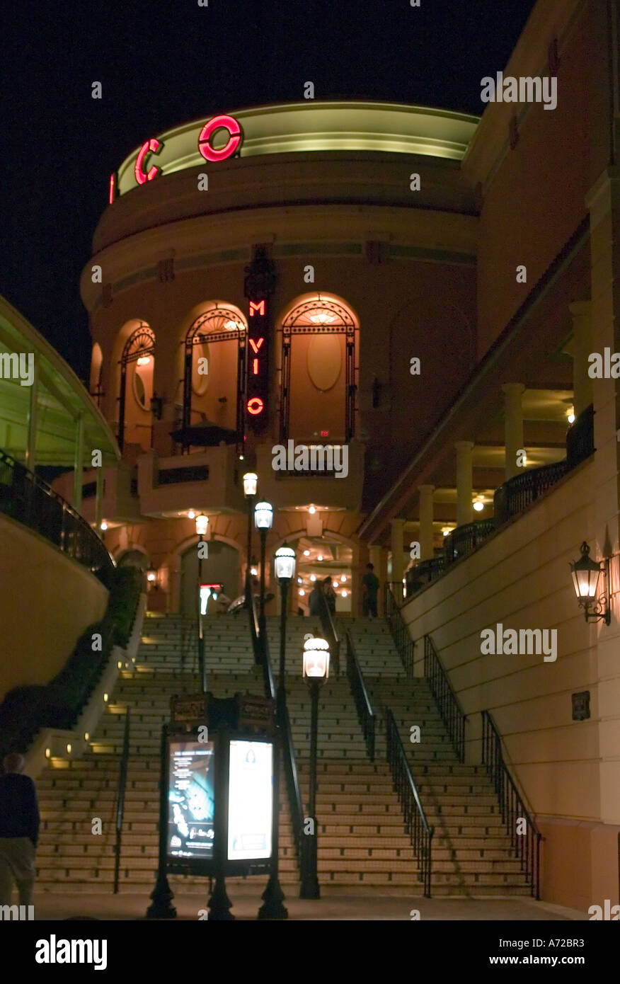 Steps Leading To Movie Theater At Night City Place West Palm Beach Florida