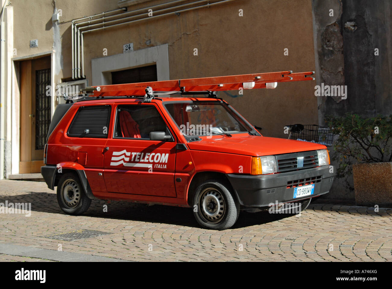 italian telecom fiat panda van ideal for the narrow italian streets stock photo royalty free. Black Bedroom Furniture Sets. Home Design Ideas