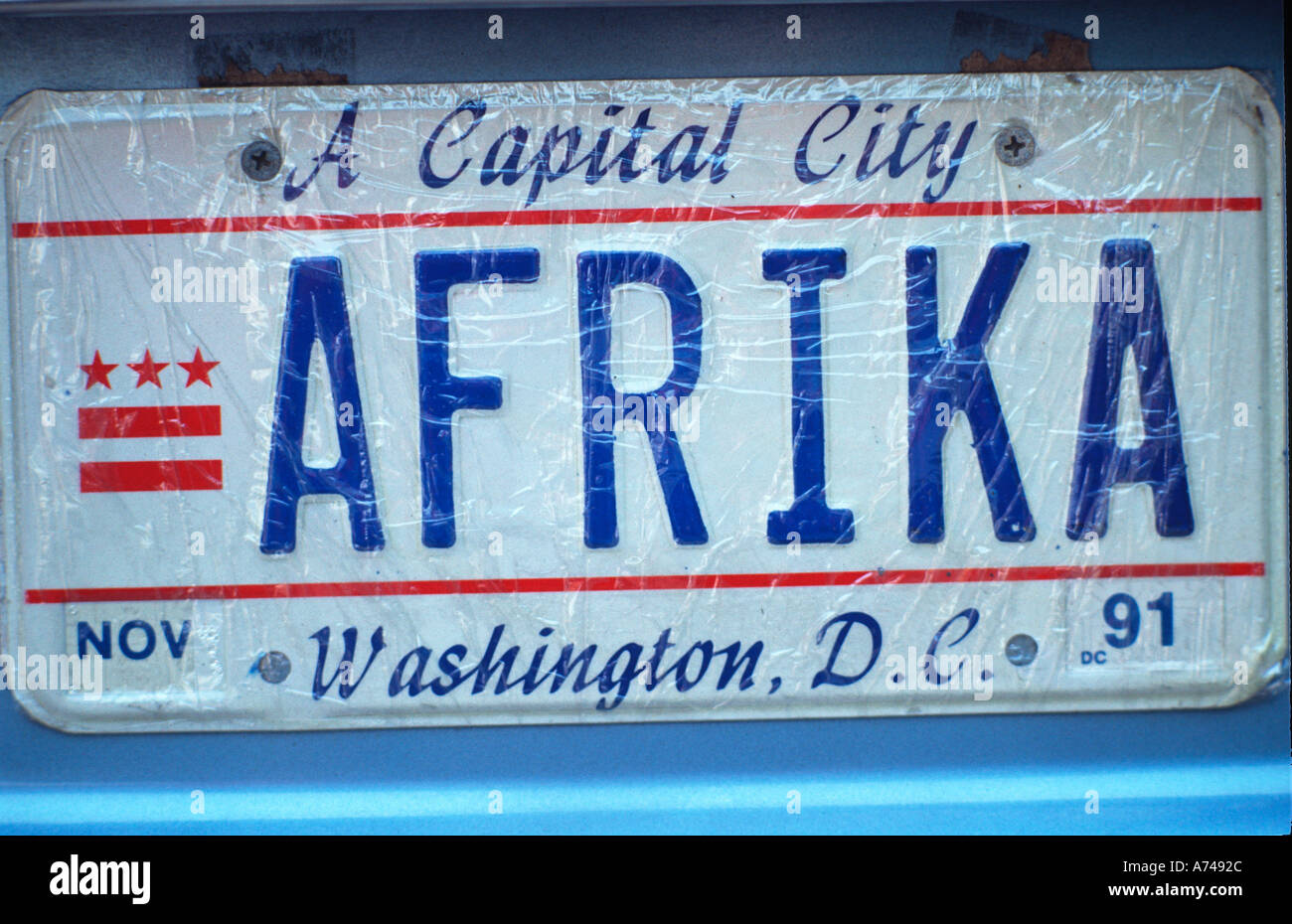Vanity License Plate Washington DC