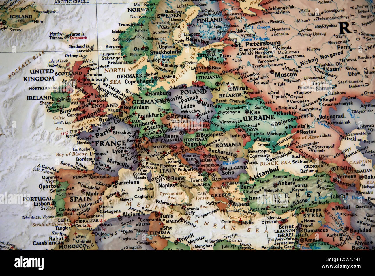 A close view of europe and the middle east from a high quality a close view of europe and the middle east from a high quality detailed world map gumiabroncs Choice Image