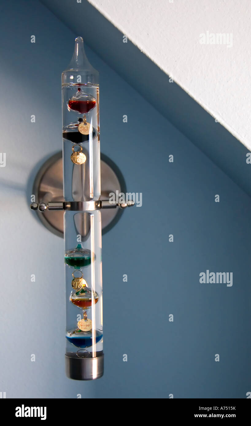 A Decorative Galileo Thermometer Wall Mounted In A Home