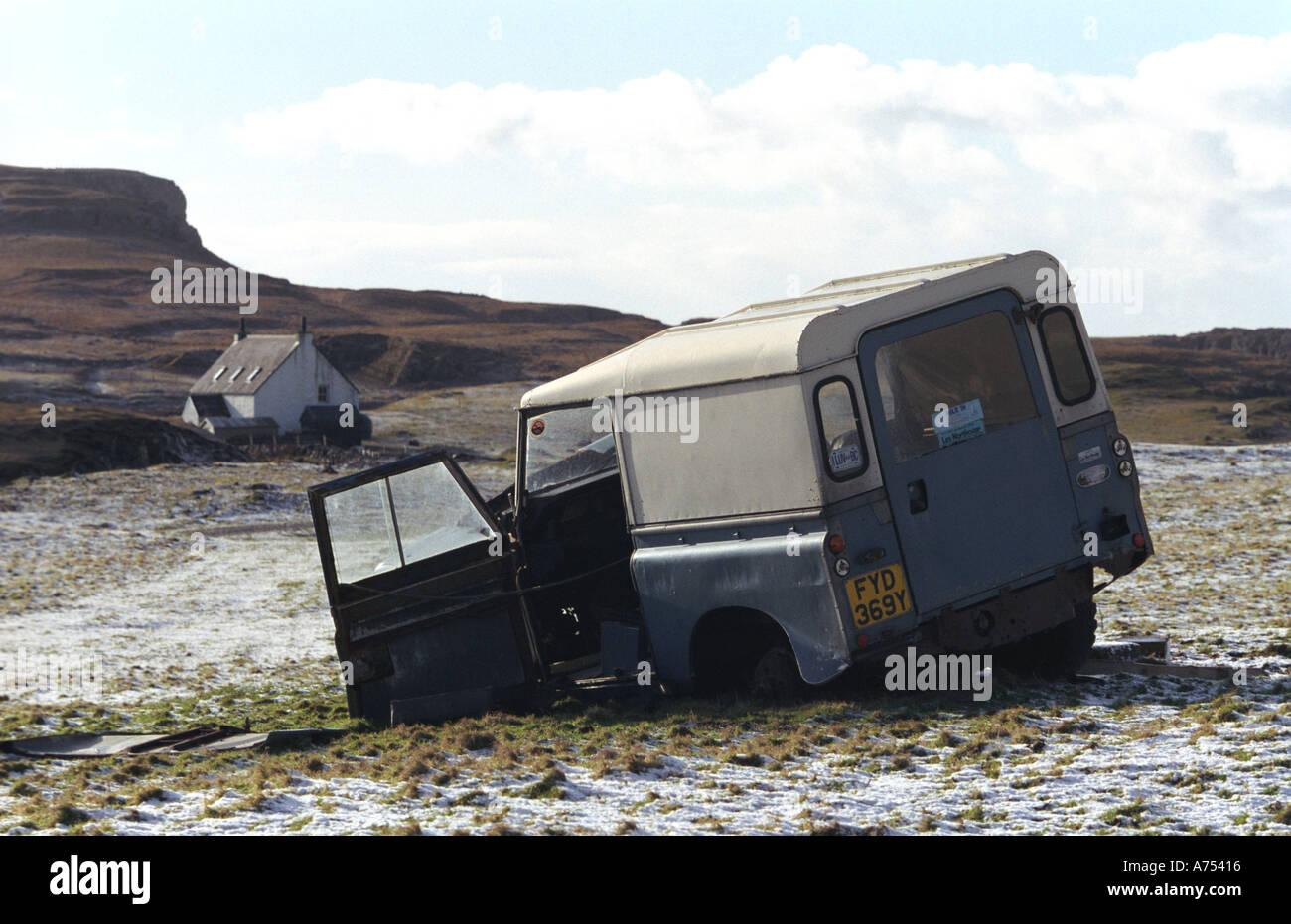 Dead Land Rover On Isle Of Canna Scotland Stock Photo