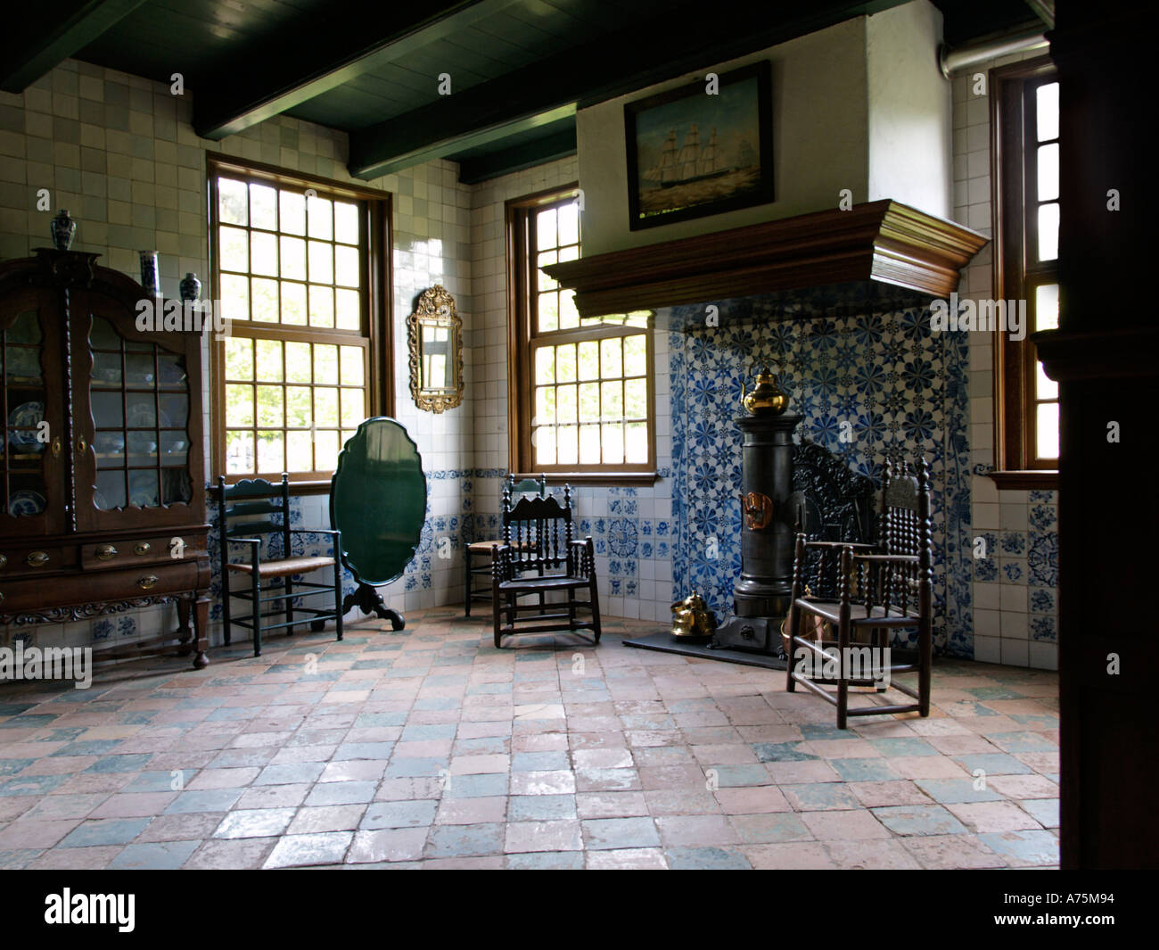 Historic Interior Of A Dutch Farmhouse Decorated With Period Furniture Originally From Midlum Friesland The Netherlands